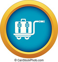 Baggage cart icon blue vector isolated