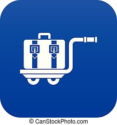 Baggage cart icon digital blue