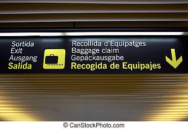 Baggage claim airport sign, palma airport, mallorca, majorca, spain