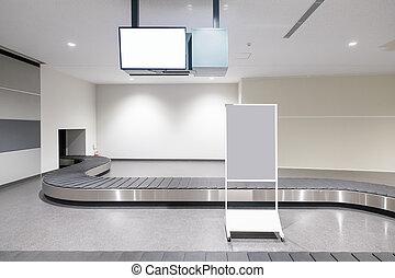 Baggage conveyor belt in airport