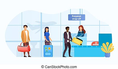 Baggage drop-off point at an airport terminal with a queue of multiracial passengers checking in their luggage before the flight in a travel and transport concept, vector illustration