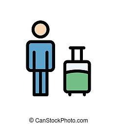 baggage  flat color icon