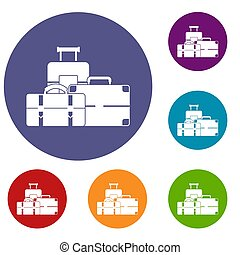 Baggage icons set in flat circle reb, blue and green color...