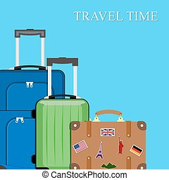 Baggage, luggage, suitcases on background.