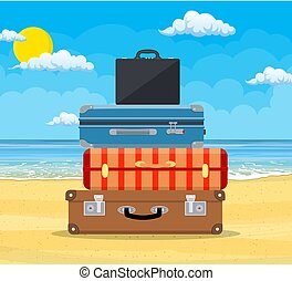 Baggage, luggage, suitcases on tropical background