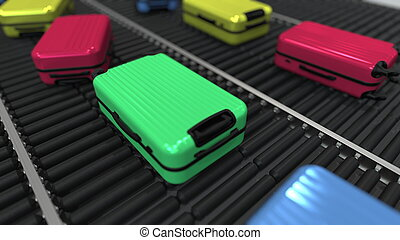 Baggage move on roller conveyor in the airport, 3D rendering