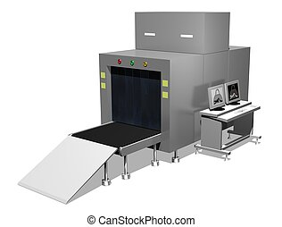 Baggage scanner - Illustration of an isolated baggage...