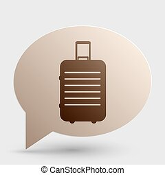 Baggage sign illustration. Brown gradient icon on bubble with shadow.