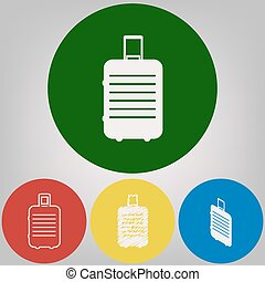 Baggage sign illustration. Vector. 4 white styles of icon at 4 colored circles on light gray background.