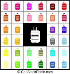 Baggage sign illustration. Vector. Felt-pen 33 colorful icons at white and black backgrounds. Colorfull.