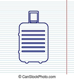 Baggage sign illustration. Vector. Navy line icon on notebook paper as background with red line for field.