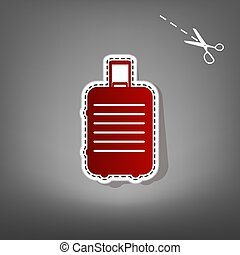Baggage sign illustration. Vector. Red icon with for applique from paper with shadow on gray background with scissors.