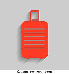 Baggage sign illustration. Vector. Red icon with soft shadow on gray background.
