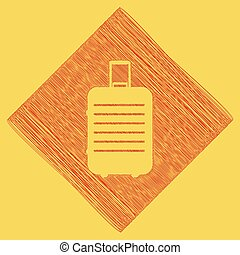 Baggage sign illustration. Vector. Red scribble icon obtained as a result of subtraction rhomb and path. Royal yellow background.