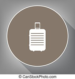 Baggage sign illustration. Vector. White icon on brown circle with white contour and long shadow at gray background. Like top view on postament.