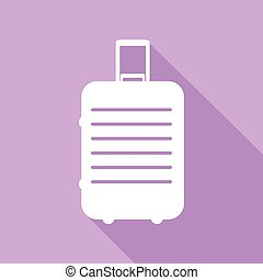 Baggage sign illustration. White Icon with long shadow at purple background. Illustration.