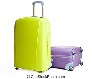 Baggage: suitcases green and purple on white