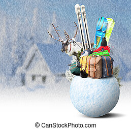 Baggage tourist skier and snowboarder