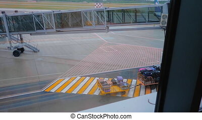 Baggage tractor with luggage passes through a pedestrian crossing near the airbridge in airport.