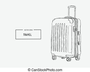 Baggage. Travels. Trip to World.  sketch vector.
