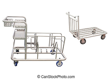 baggage trolley under the white background