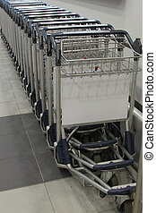 Baggage trolleys at the airport