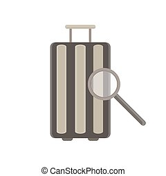 Baggage vector flat icon. Luggage travel bag isolated case design element graphic illustration retro sign suitcase