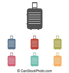 Baggage vector icons set