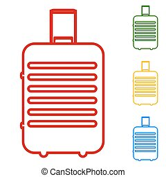 Baggage vector. Set of line icons