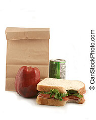 bagged lunch - ham sandwich with tomatoes and lettuce, apple...
