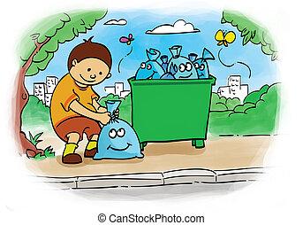bagging trash - children who put the trash bag for clean...