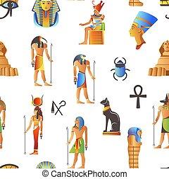 baggrund, ægyptisk, ægypten, mønster, mytologiske, seamless, isoleret, vector., tegn
