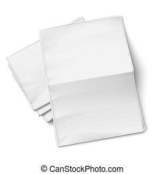 baggrund., aviser, stabel, hvid, blank