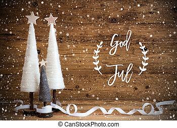 baggrund, betyder, jul, gud, sneflager, træ, af træ, jul, ...