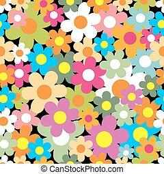 baggrund., blomst, pattern., seamless, farverig
