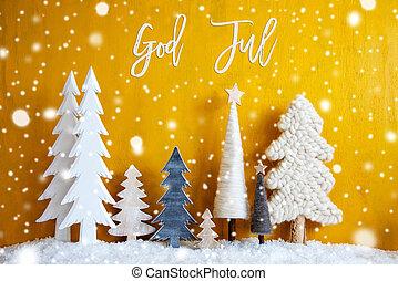 baggrund, gud, træer, merry, betyder, jul, gul, jul, ...