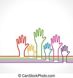 baggrund, hånd, farverig