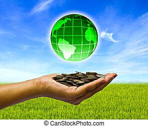 baggrund., hænder, mønter, himmel, klode