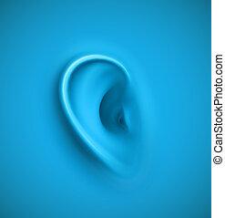 baggrund, hos, øre