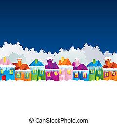 baggrund, hos, cartoon, huse