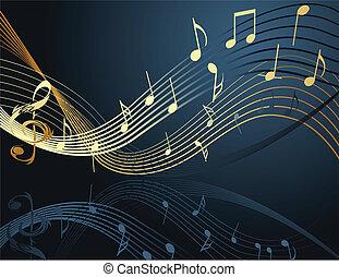 baggrund, hos, musik noterer