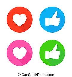 baggrund., hvid, oppe, tommelfinger, ikon, isoleret, hjerte
