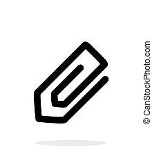 baggrund., hvid, paperclip, ikon