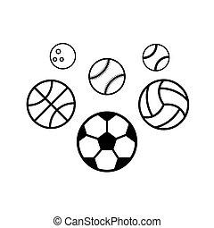 baggrund., hvid, sport, kugler