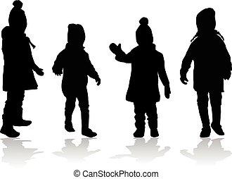 baggrund., hvid, vektor, silhuet, børn