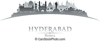 baggrund, hyderabad, indien, skyline, byen, silhuet, hvid