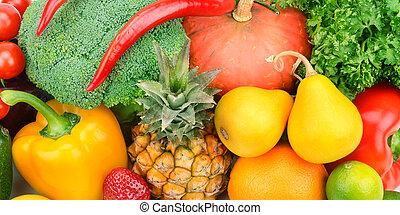 baggrund, i, frugter grønsager