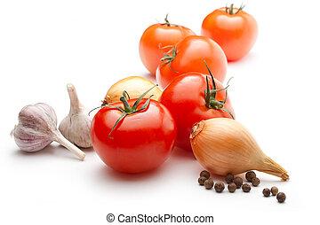 baggrund, isoleret, peber, løg, tomater, hvidløg, hvid