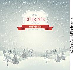 baggrund., landskab, jul, vector., vinter