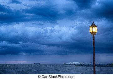 baggrund, lys, stom, hav, nigth, poster
